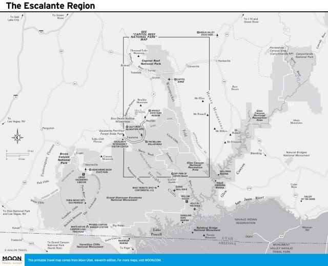 Travel map of The Escalante Region in Utah