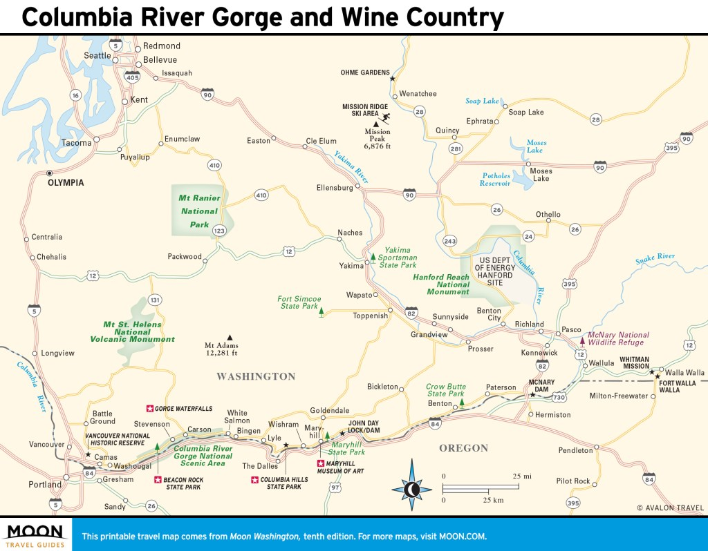 Travel map of Columbia River Gorge and Wine Country