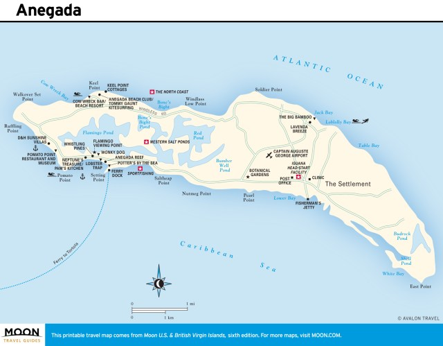 Travel map of Anegada, Virgin Islands