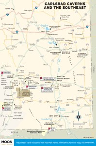 Travel map of Carlsbad Caverns and Southeast New Mexico