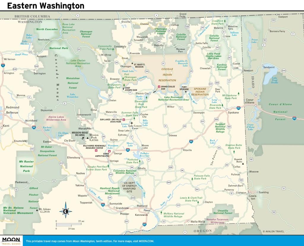 Travel map of Eastern Washington