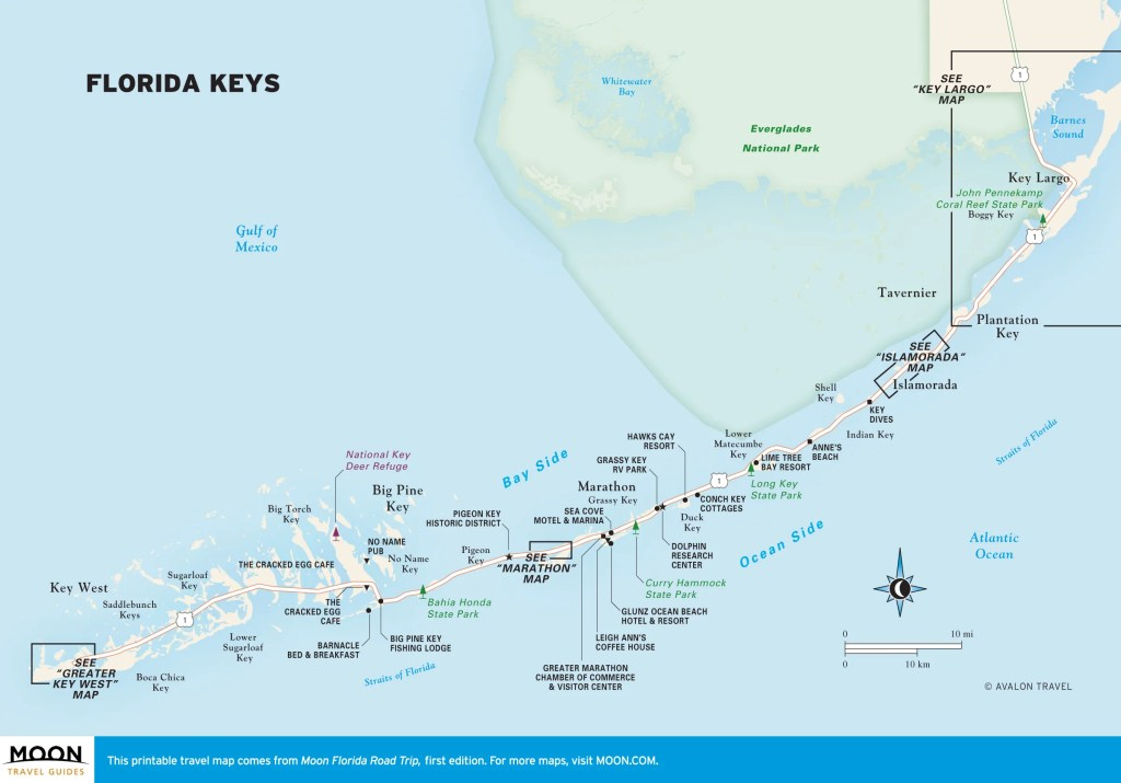 Travel map of the Florida Keys