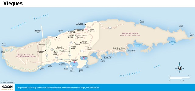Travel map of Vieques, Puerto Rico