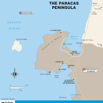 Color travel map of The Paracas Peninsula in Peru