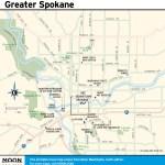 Travel map of Greater Spokane, Washington