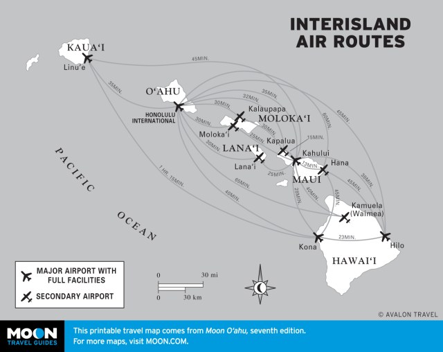 Map of Hawaii's Inter-Island Air Routes