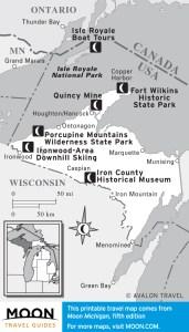 travel map of michigan's upper peninsula