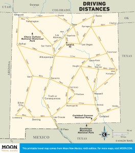 Travel map showing Driving Distances in New Mexico