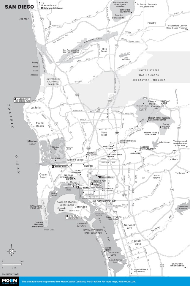 Travel map of San Diego