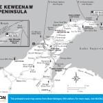 Travel map of The Keweenaw Peninsula, Michigan