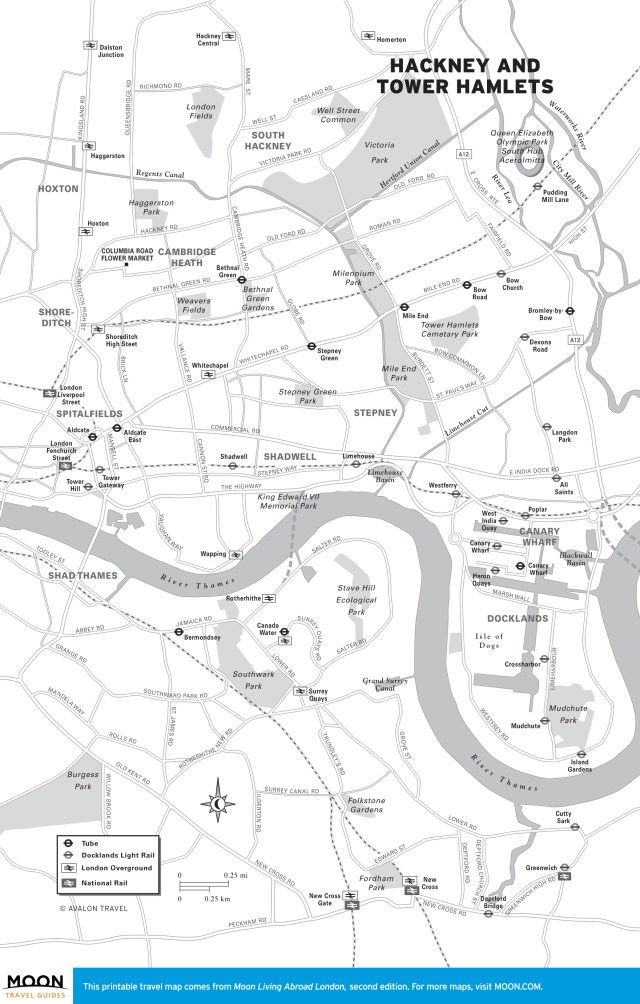 Travel map of Hackney and Tower Hamlets
