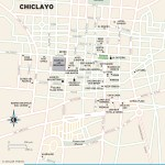 Color travel map of Chiclayo, Peru