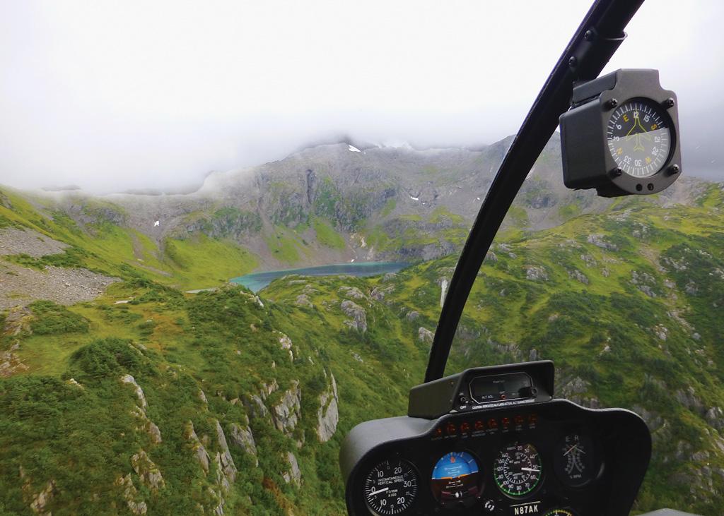 misty view of Kodiak Alaska from the air