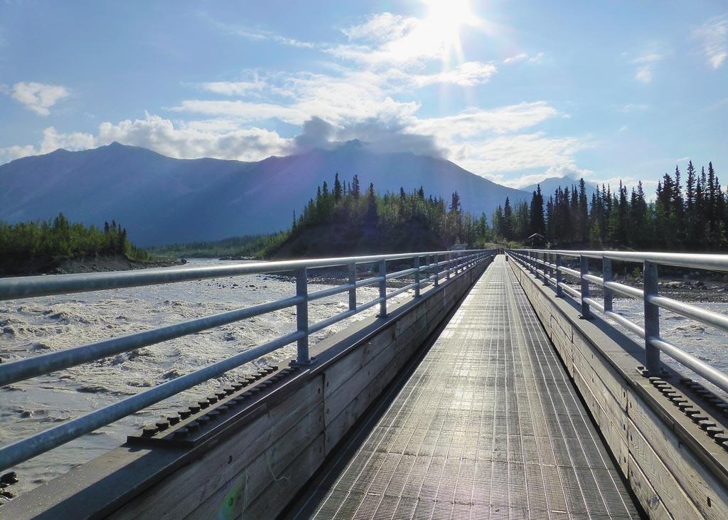 footbridge path into McCarthy, Alaska