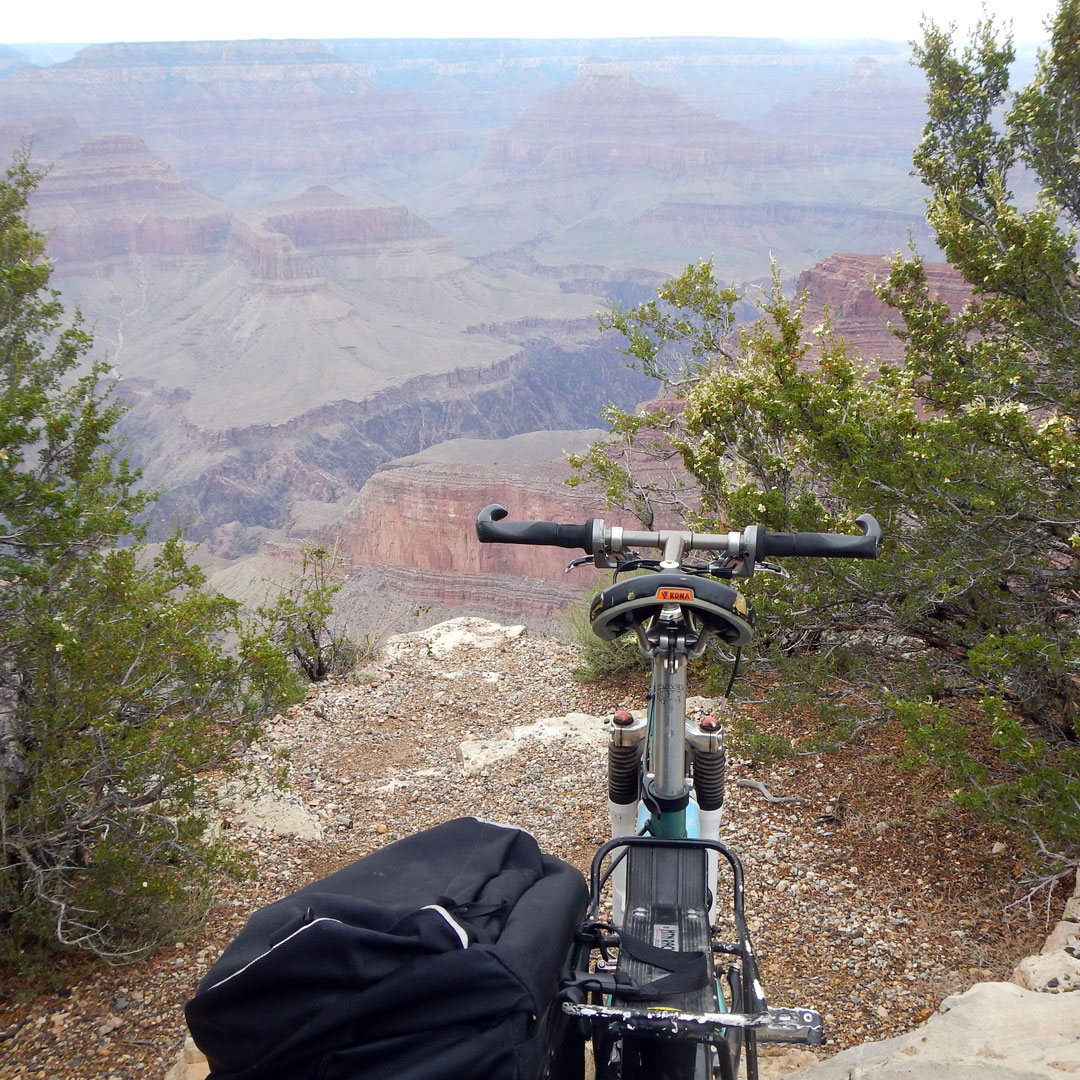 bike positioned with a view of the Grand Canyon