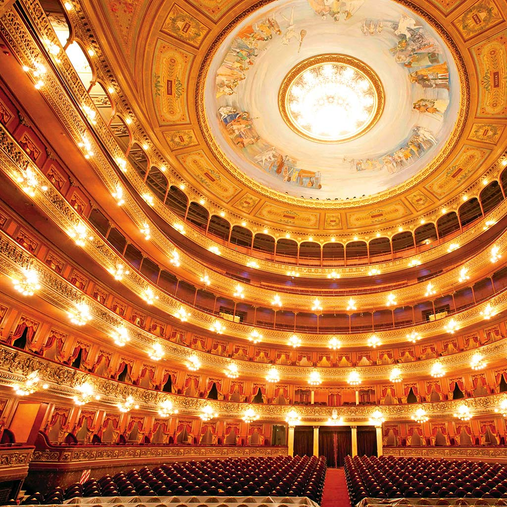 Gilded box seats and a beautiful painted ceiling inside the Teatro Colon.