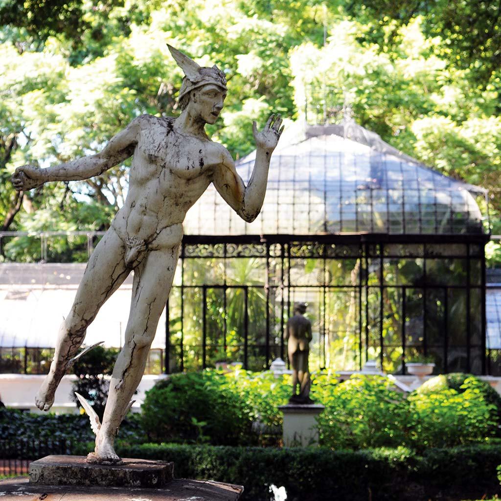 A statue of Mercury in the Jardín Botánico