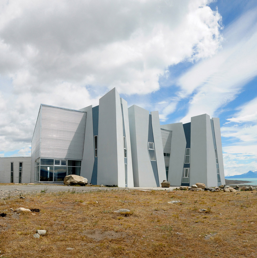 view of the outside architecture of the Glaciarium museum in El Calafate Argentina