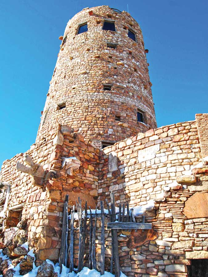 Grand Canyon's Desert View Watchtower on a snowy winter day.