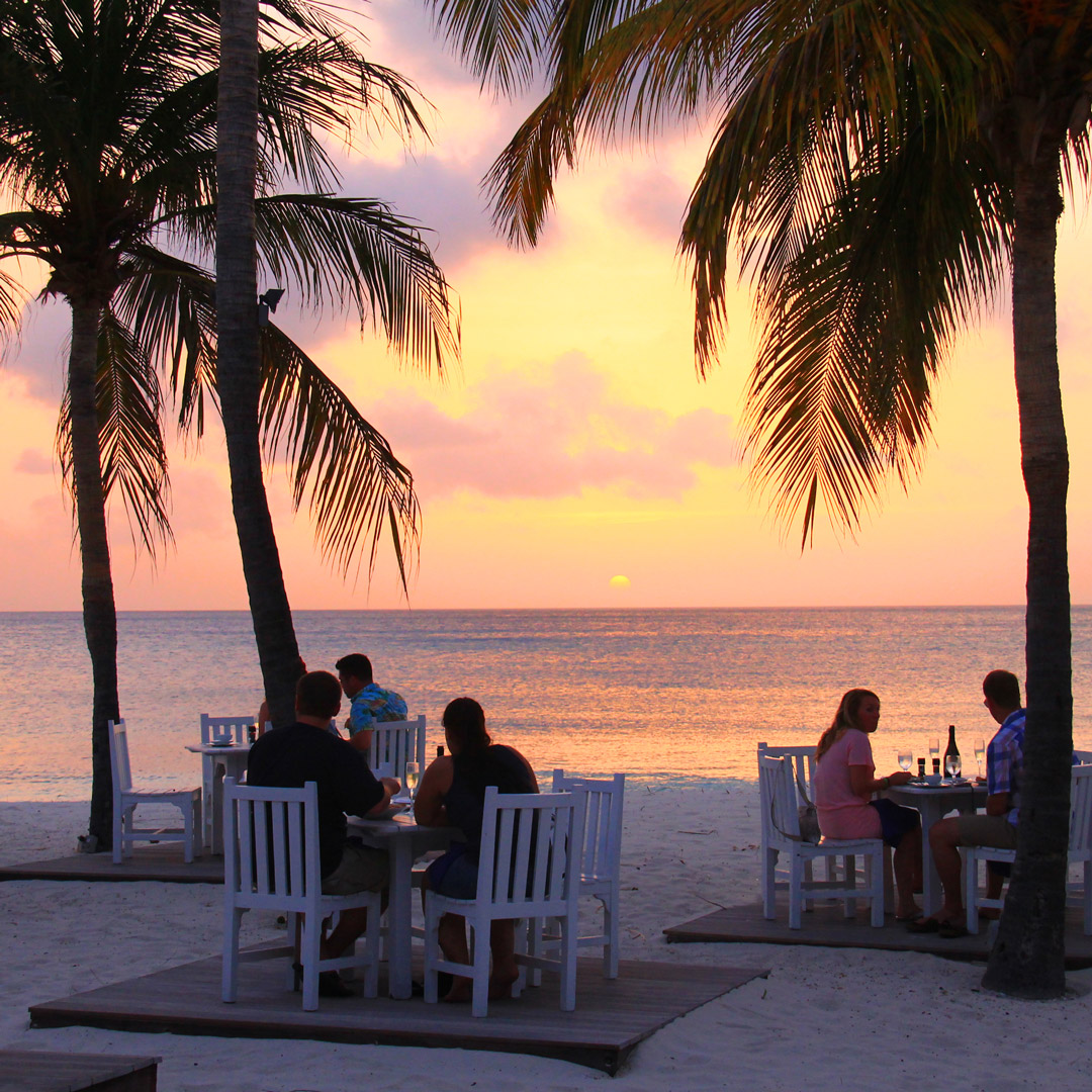 diners on the beach under palm trees at sunset