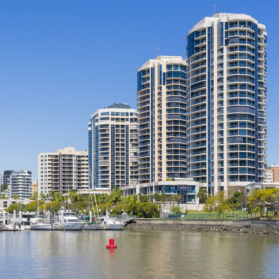 modern apartment buildings along the river in Brisbane