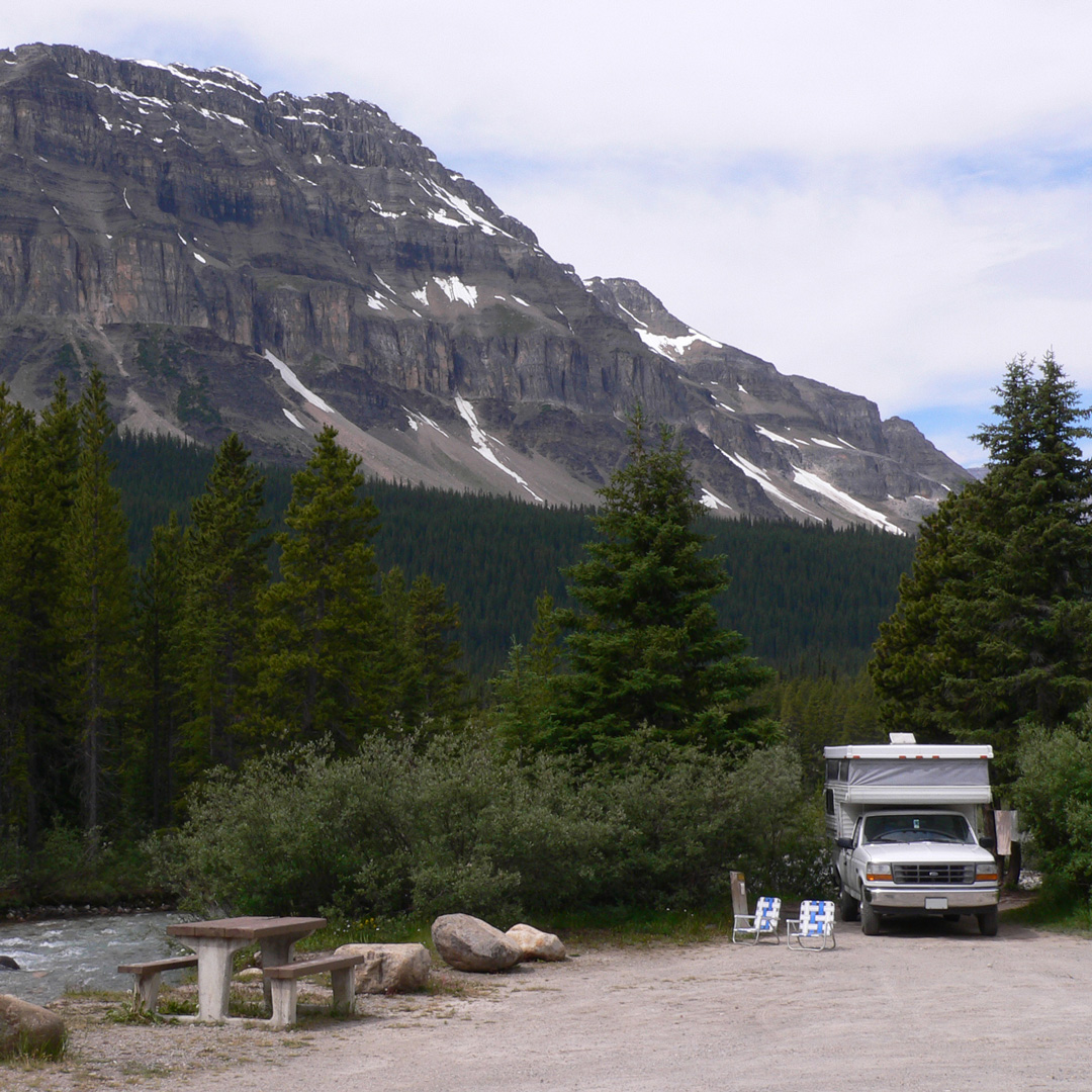 rv at campsite in Banff National Park