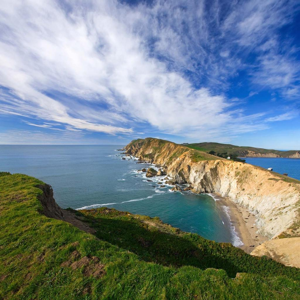 View of the coastline at Point Reyes National Seashore in Northern California.