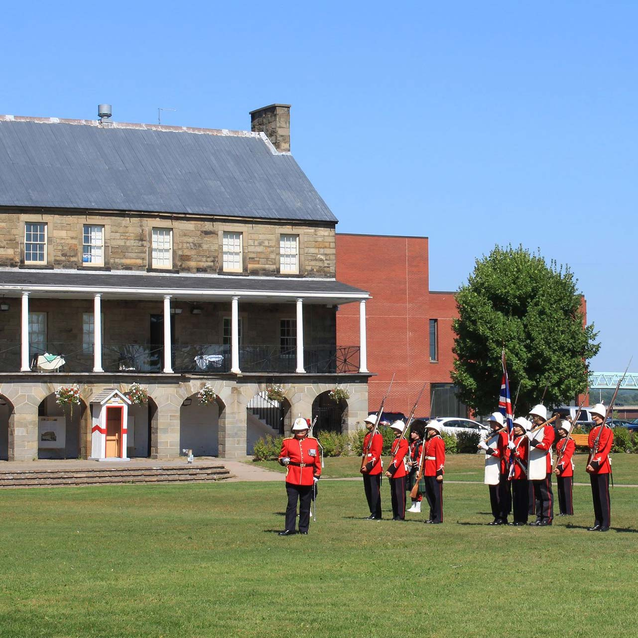 Reenactment of a changing of the guard ceremony at Fredericton's Officers Square.