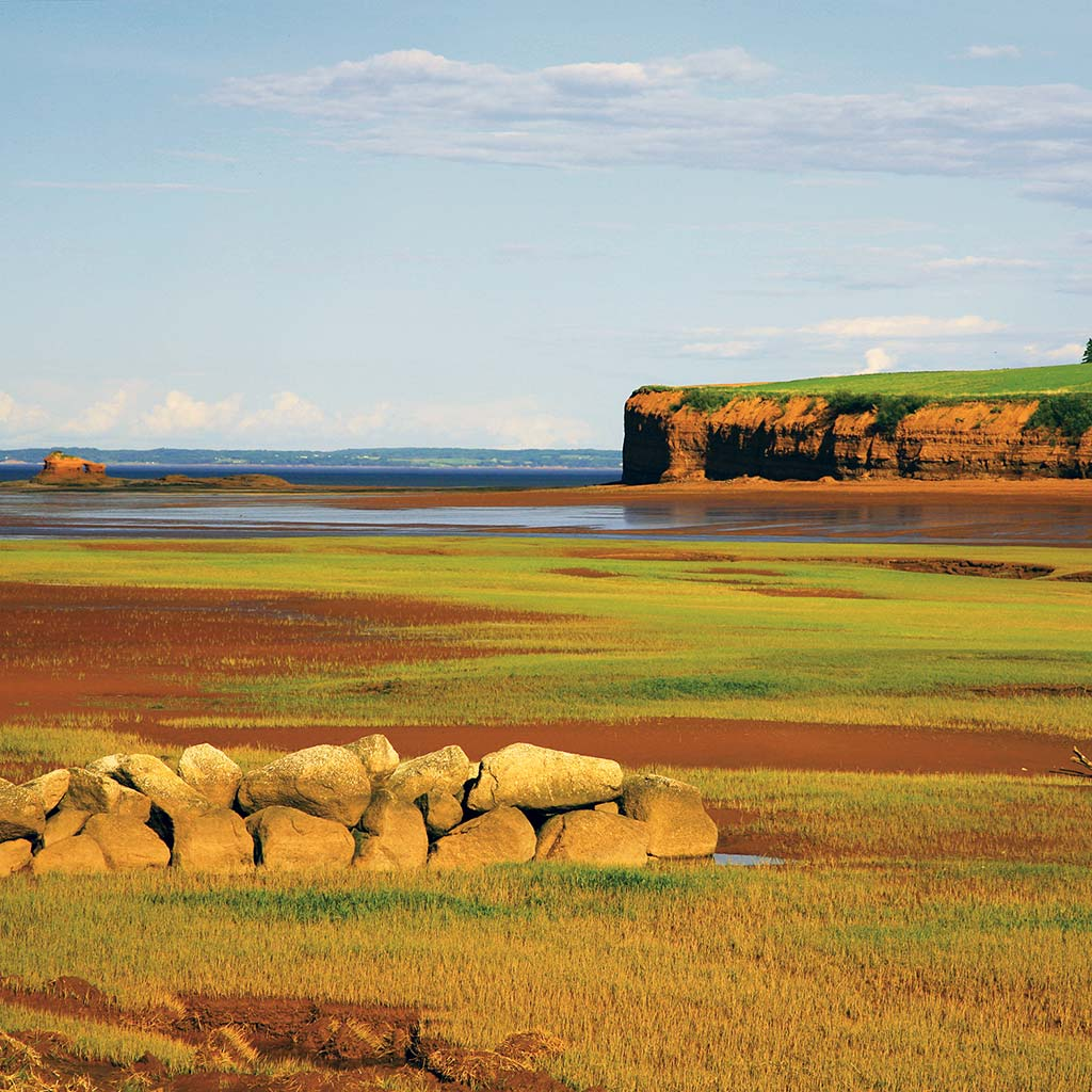 A low rock wall with the sea cliffs of Blomidon Provincial Park in the distance.