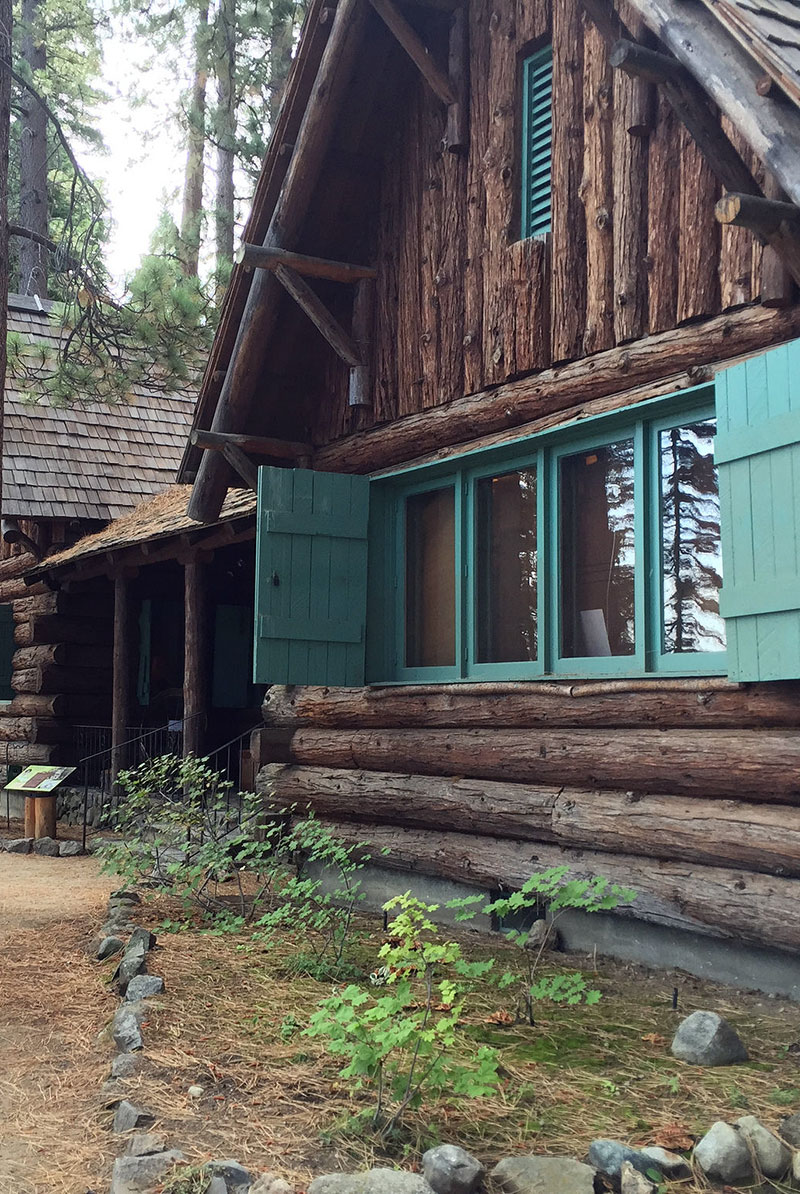 A log-cabin building at Tallac Historic Site in South Lake Tahoe.