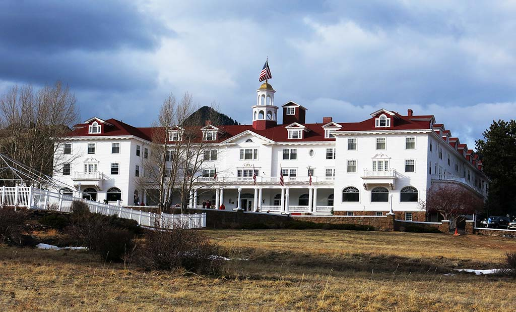 The Stanley Hotel, a multi-story, Georgian-style hotel.