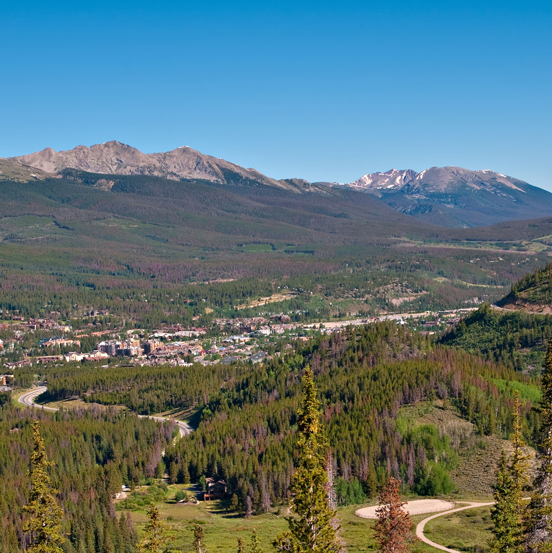 panoramic view of forest and mountains in Breckenridge