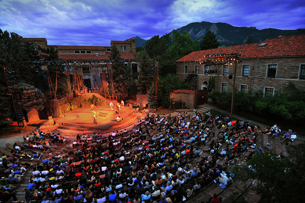 Night view of a performance at the Shakespeare Festival in Boulder