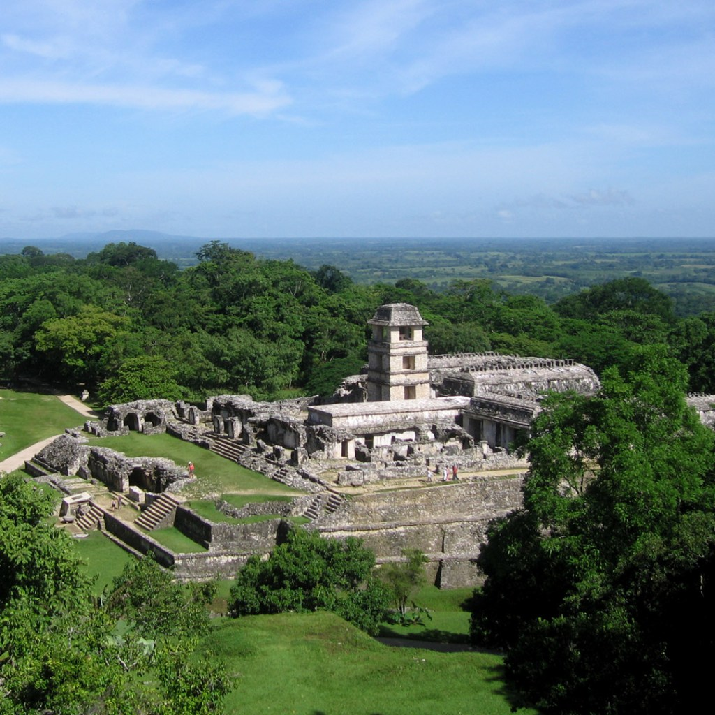 view of ruins in Chiapas from the air