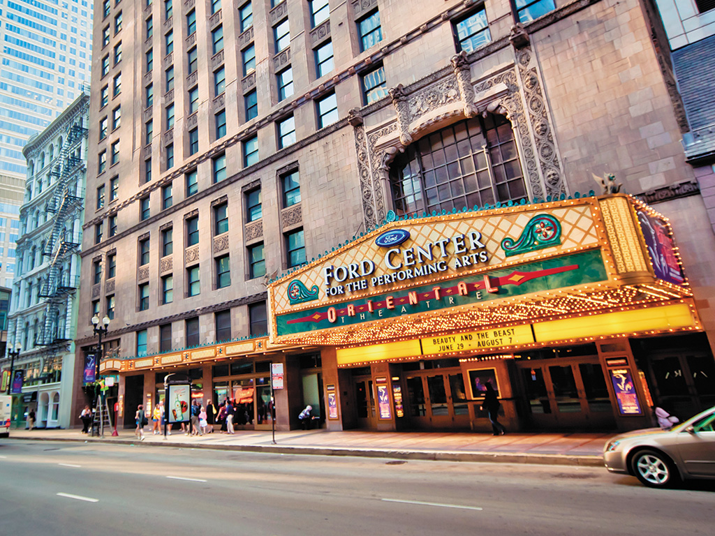 view of Oriental Theater from the street