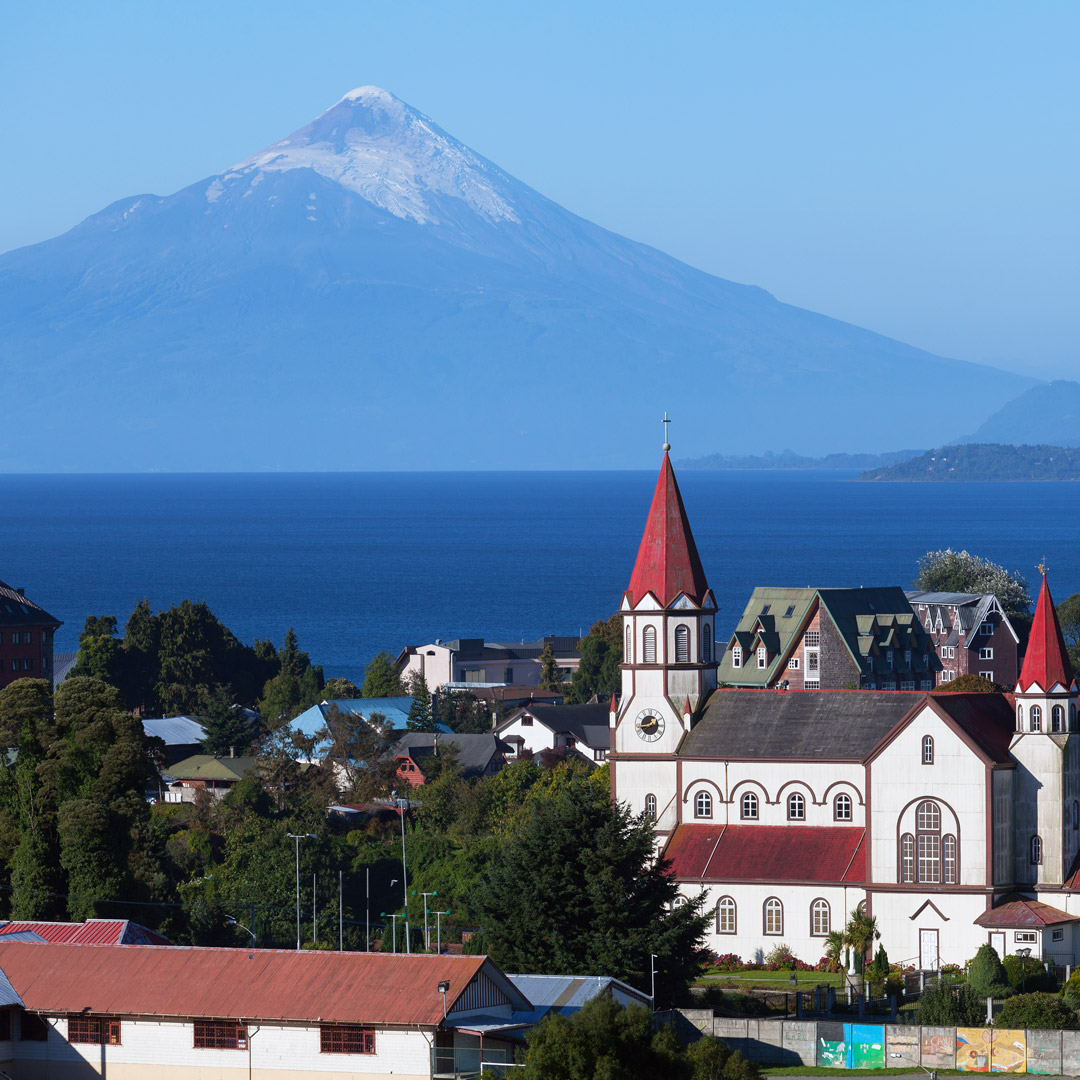 the city of Puerto Varas backed by Llanquihue Lake and Osorno Volcano in Chilean Patagonia