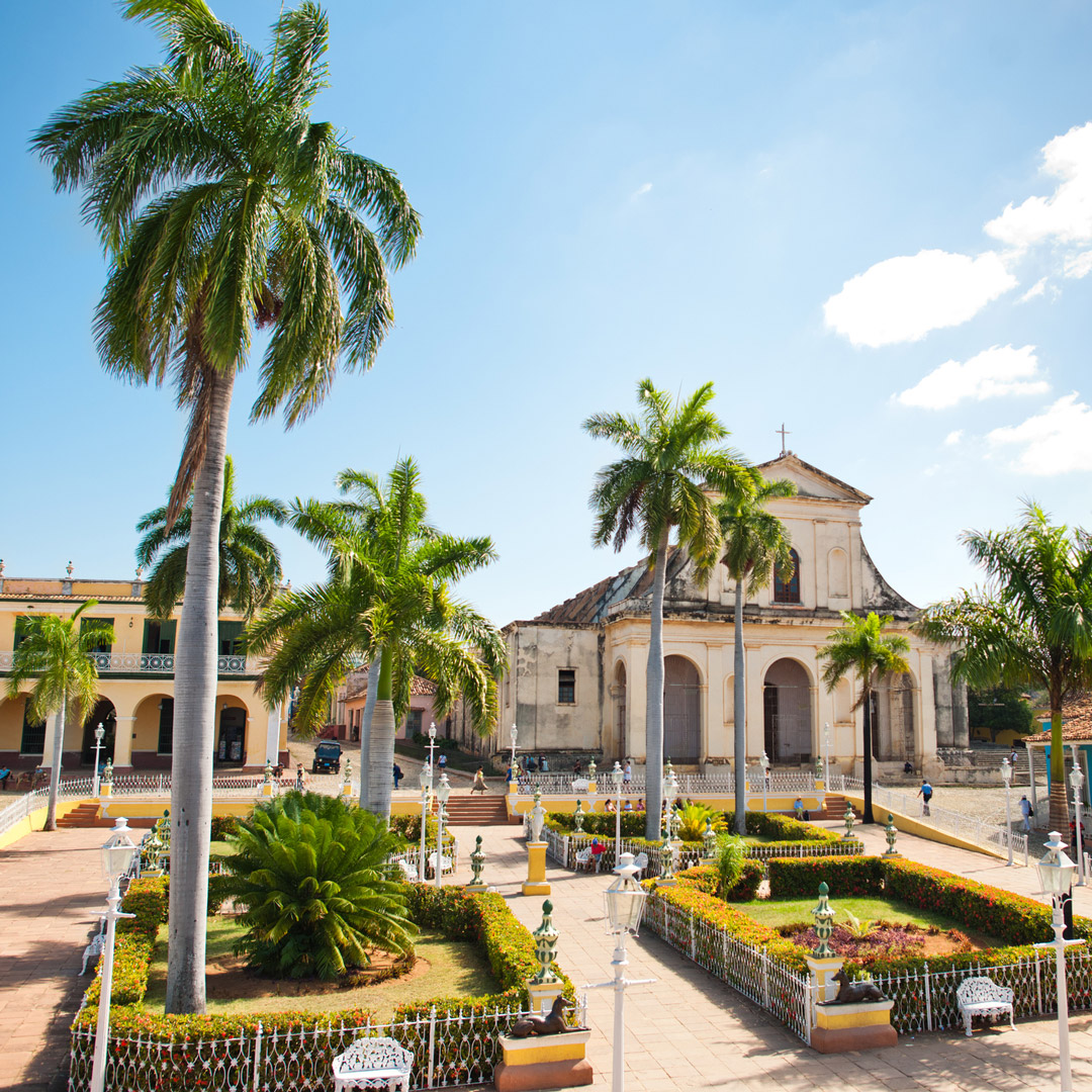 palm trees stand in a plaza in Trinidad Cuba