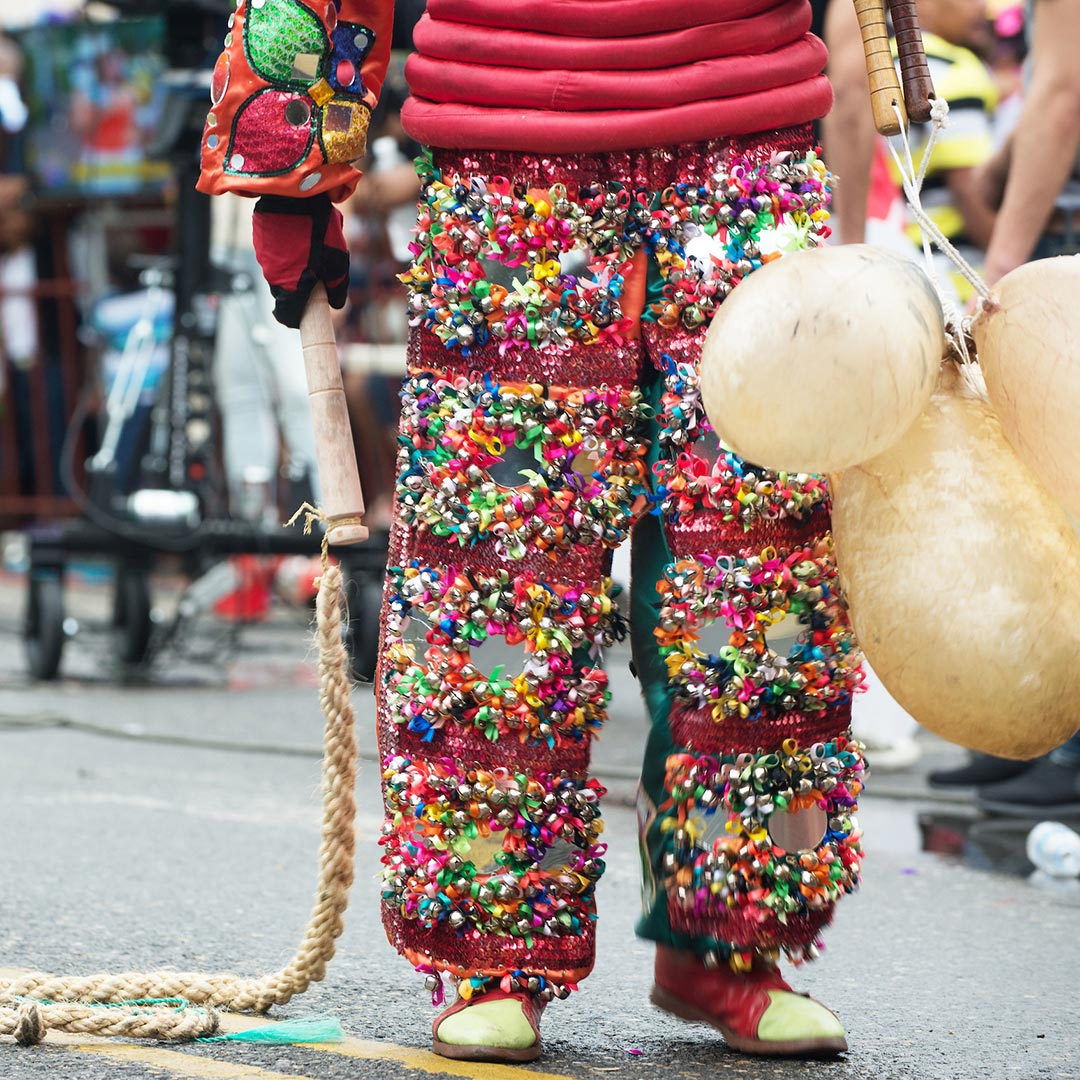 A defining characteristic across the country's carnivals is the devils' use of <em>vejigas</em>, which are made of a cow's dried, inflated bladder, cured with lemon, ashes, and salt. Photo © Lebawit Lily Girma.