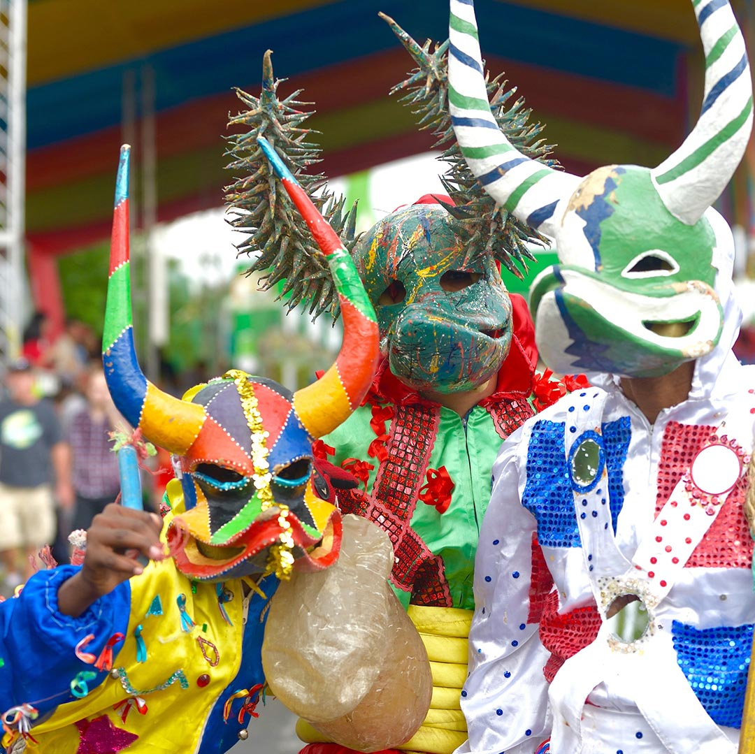 "Santiago's reigning carnival characters are Los Lechones or ""piglets""–devils in masks that resemble the face of a pig. Photo © Lebawit Lily Girma."