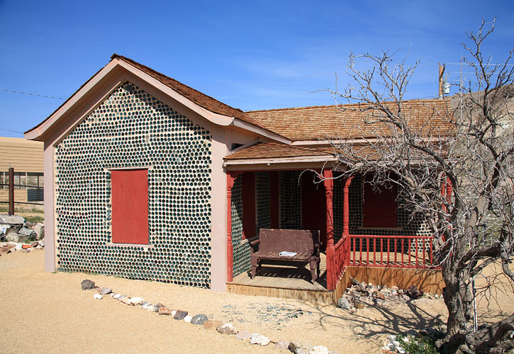 Rhyolite's bottle house was built from empty beer and liquor bottles.