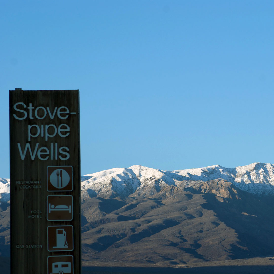 Amenities sign at Stovepipe Wells campground