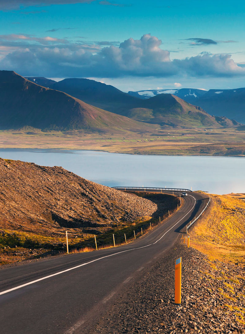 Easy driving on a summer evening in Iceland.