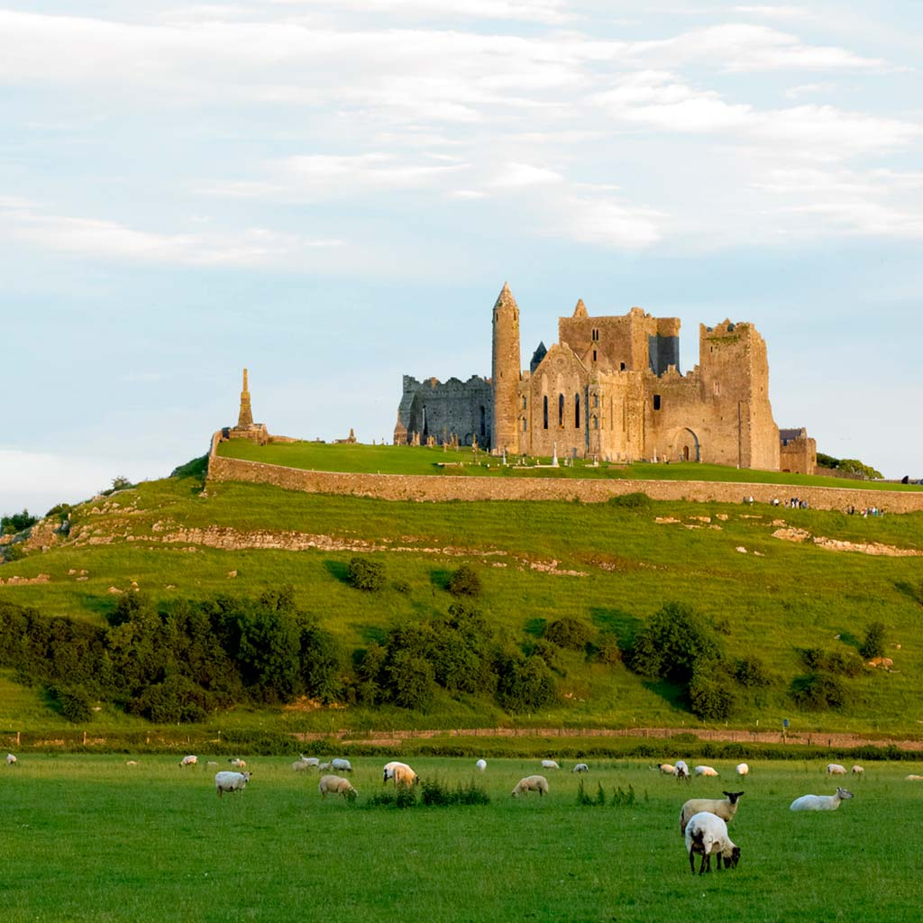 Rock of Cashel perched on a low hill in the Irish countryside.