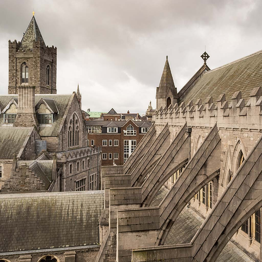 View at roof level of Dublin's Christ Church Cathedral.