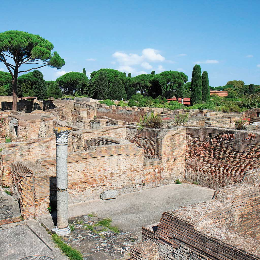 A pillar stands amongst the ruins of Ostia Antica.