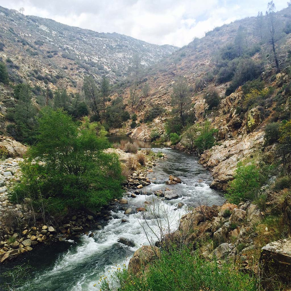 A section of the river as it flows through Sequoia National Forest
