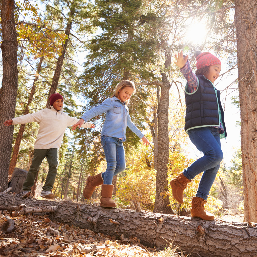Photo kids walking on a log in the forest