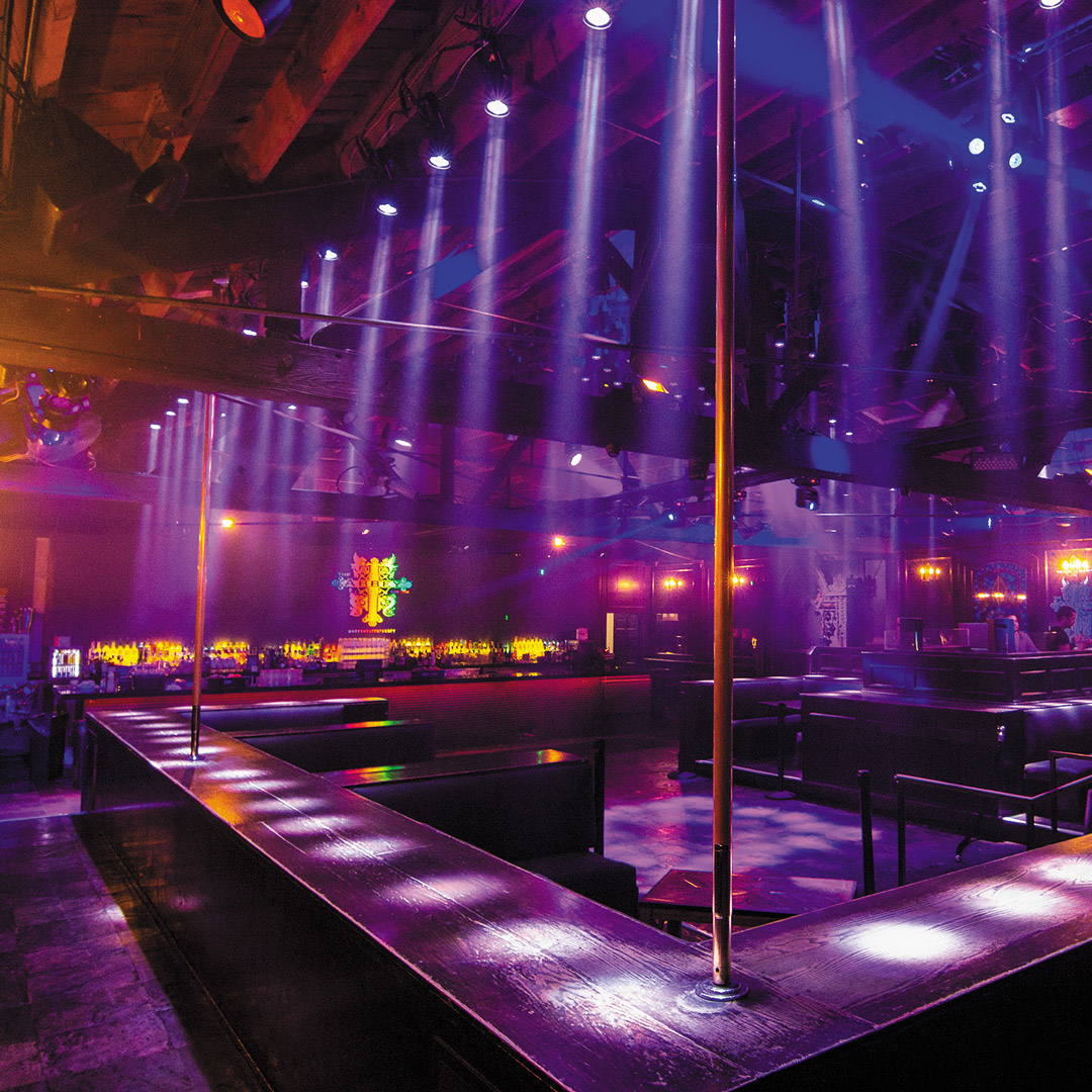 theater lighting illuminate the bar top of a dance club in Los Angeles