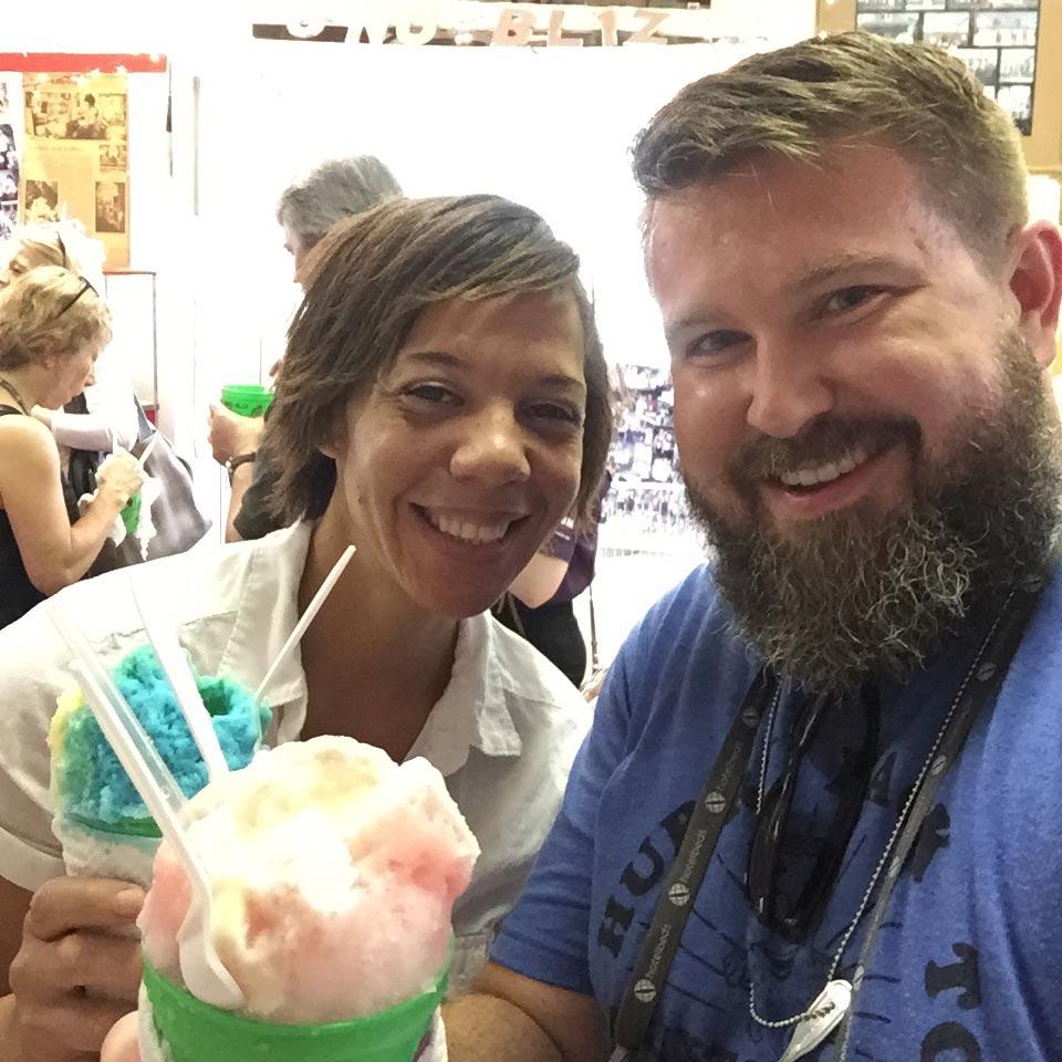 Jason Frye and Chef Nina Compton enjoying Sno-Bliz