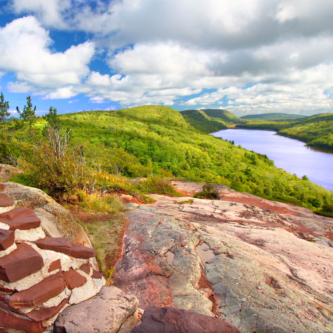 cloudes over porcupine mountains as seen from Lake of the Clouds overlook